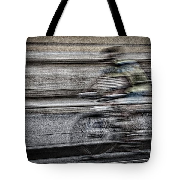 Bicycle Rider Abstract Tote Bag
