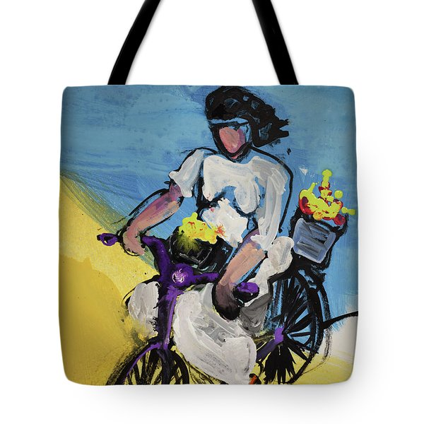 Bicycle Riding With Baskets Of Flowers Tote Bag
