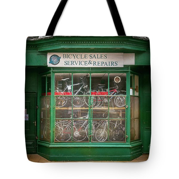 Tote Bag featuring the photograph Bicycle Sales, Service And Repair by Craig J Satterlee