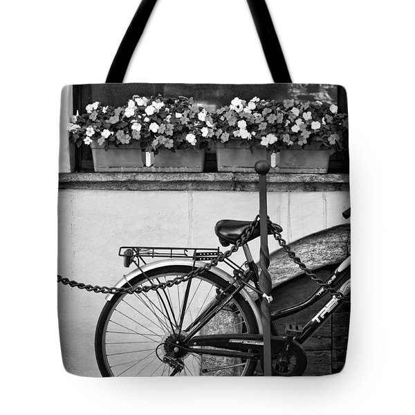 Bicycle With Flowers Tote Bag by Silvia Ganora