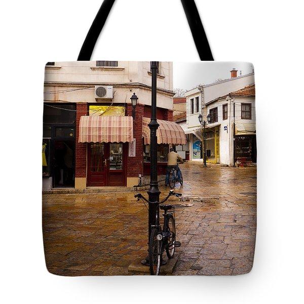 Bicycles At The Bazaar Tote Bag by Rae Tucker