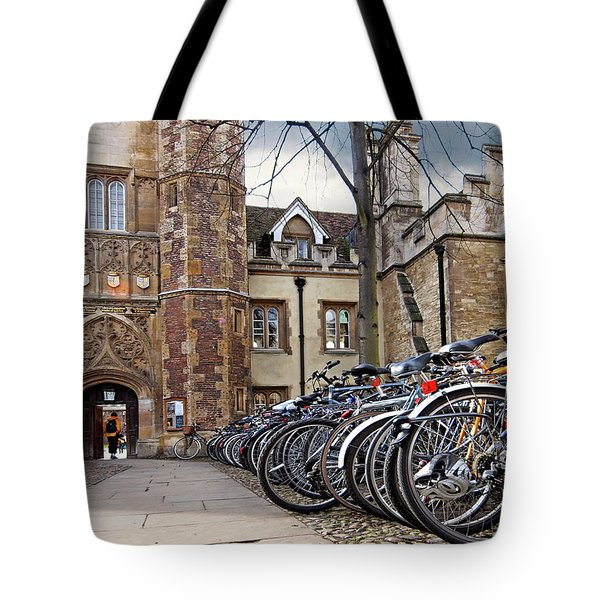 Bicycles At Trinity College Cambridge Tote Bag by Gill Billington