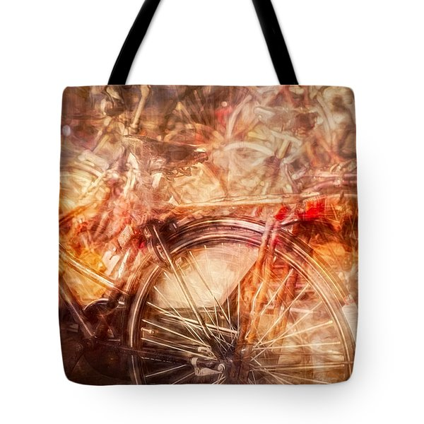 Tote Bag featuring the digital art Bicycles In Amsterdam by Richard Anderson