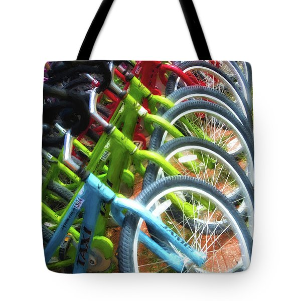 Tote Bag featuring the photograph Bicycles On Florida County Road 30-a by Mel Steinhauer