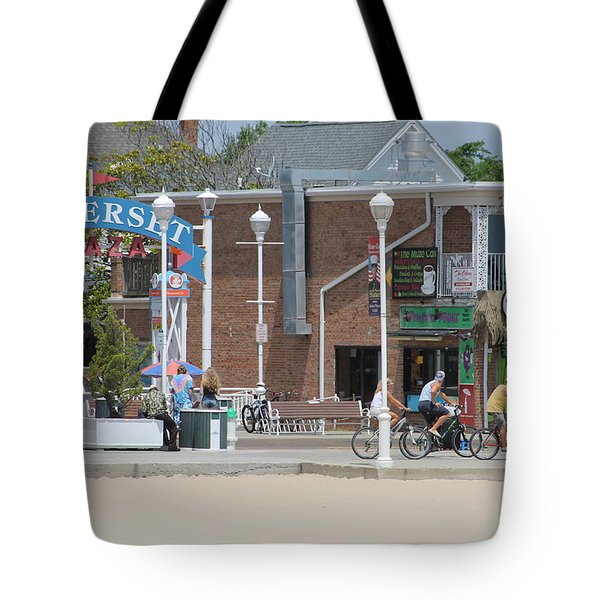 Bicycling By Somerset Plaza Tote Bag by Robert Banach