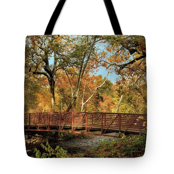 Tote Bag featuring the photograph Bidwell Park Bridge In Chico by James Eddy