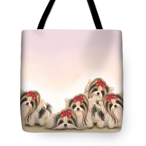 Tote Bag featuring the painting Biewer Pack by Catia Lee