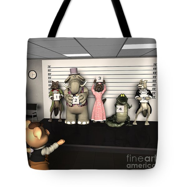Big Bad Wolf Lineup Tote Bag by Methune Hively