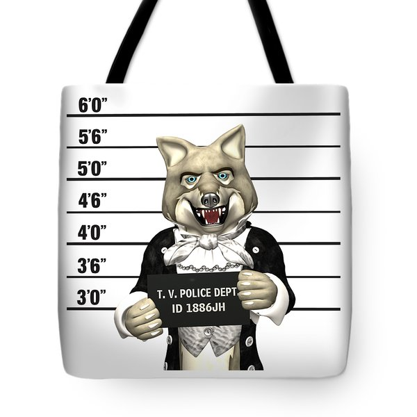 Tote Bag featuring the digital art Big Bad Wolf Mugshot by Methune Hively