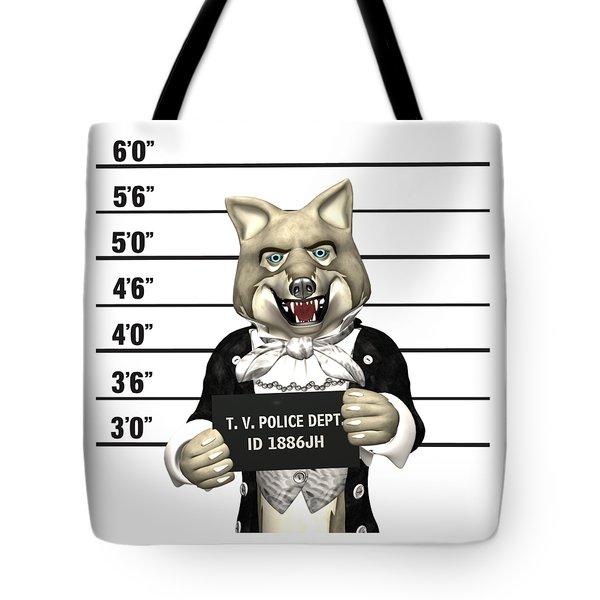 Big Bad Wolf Mugshot Tote Bag by Methune Hively