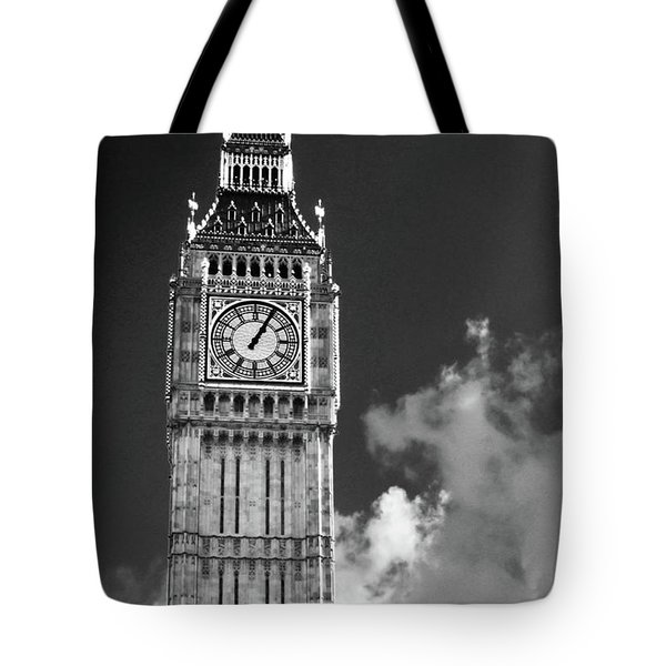 Big Ben And Clouds Bw Tote Bag