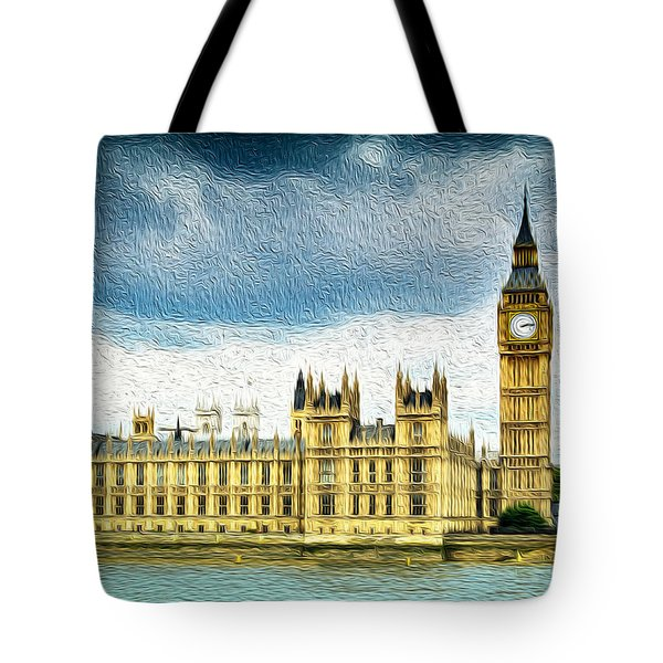 Big Ben And Houses Of Parliament With Thames River Tote Bag