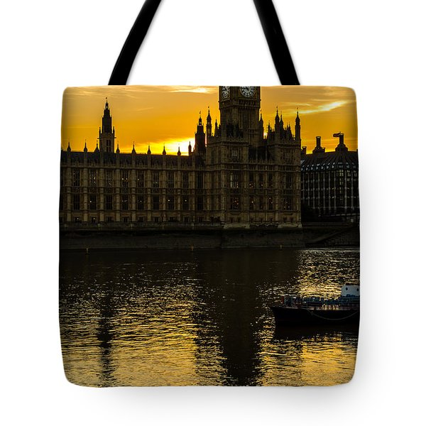 Big Ben Tower Golden Hour In London Tote Bag