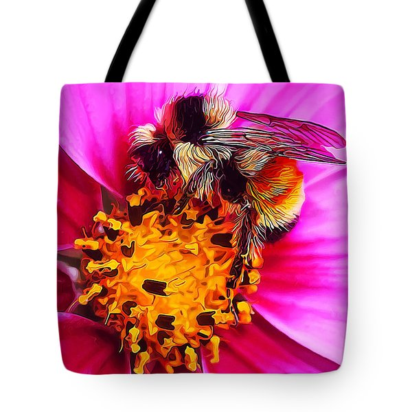 Big Bumble On Pink Tote Bag by ABeautifulSky Photography