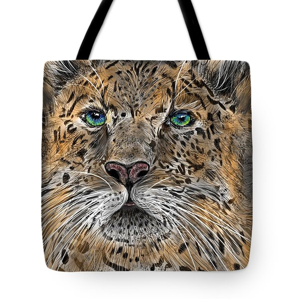 Tote Bag featuring the digital art Big Cat by Darren Cannell