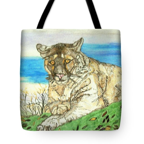 Tote Bag featuring the painting Big Cat Watching Out For Prey by Connie Valasco