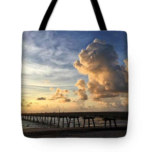 Big Cloud And The Pier, Tote Bag