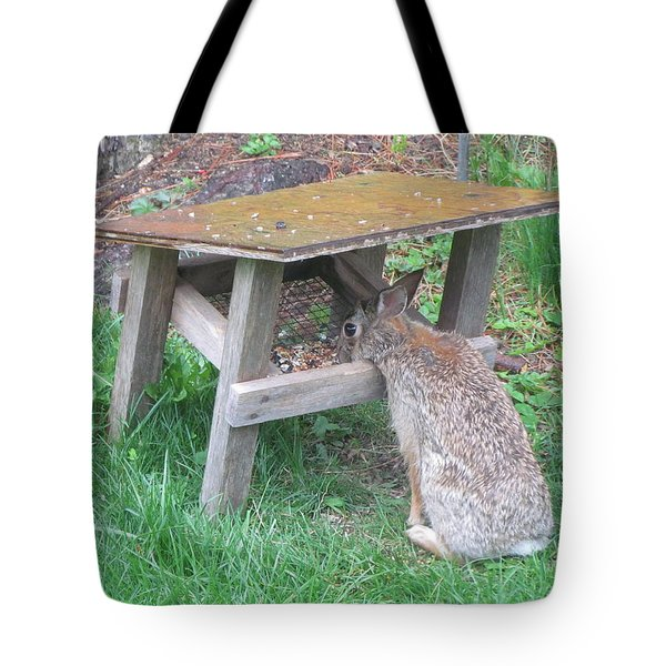 Big Eyed Rabbit Eating Birdseed Tote Bag