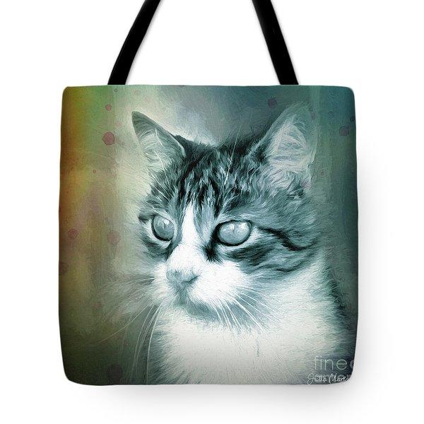 Tote Bag featuring the digital art Big Eyes by Jutta Maria Pusl
