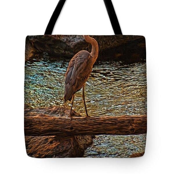 Big Falls Blue Heron Tote Bag