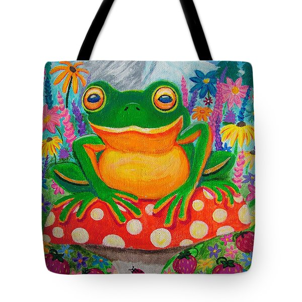Big Green Frog On Red Mushroom Tote Bag by Nick Gustafson