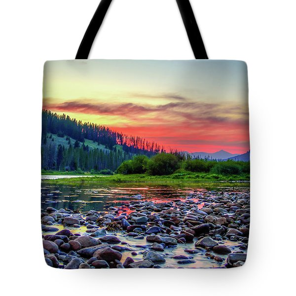 Tote Bag featuring the photograph Big Hole River Sunset by Bryan Carter