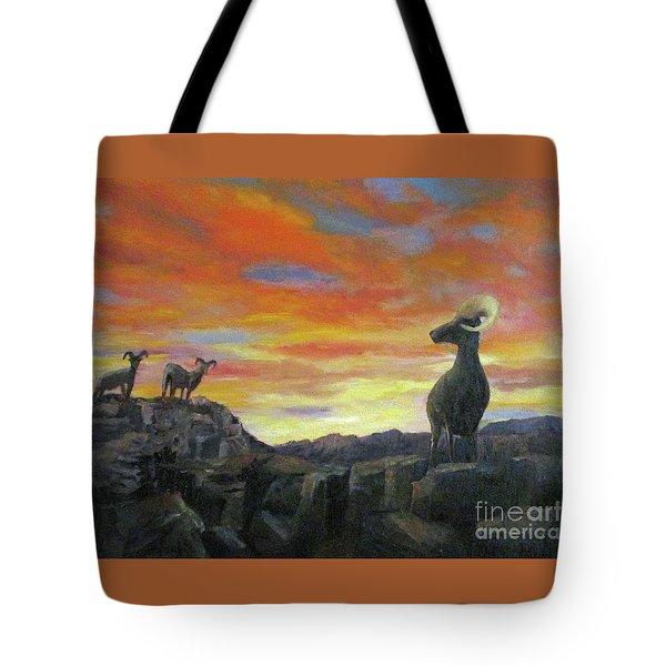 Big Horn Sheep At Sunset Tote Bag