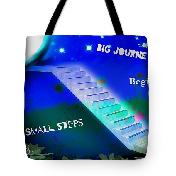 Big Journeys......small Steps Tote Bag by Diana Riukas