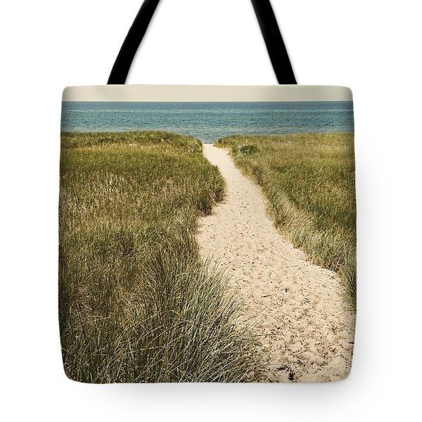 Tote Bag featuring the photograph Big Lake Beach Path by Michelle Calkins
