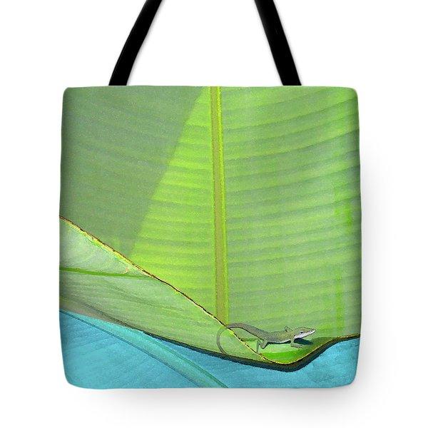 Big Leaves With Lizard Tote Bag