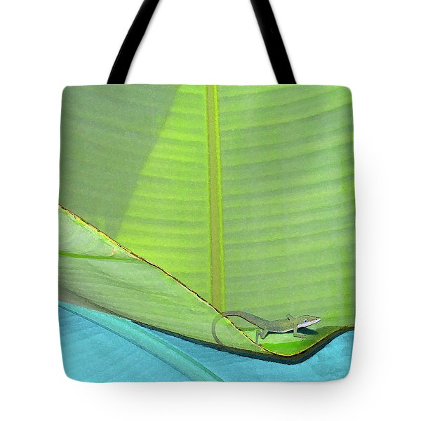 Big Leaves With Lizard Tote Bag