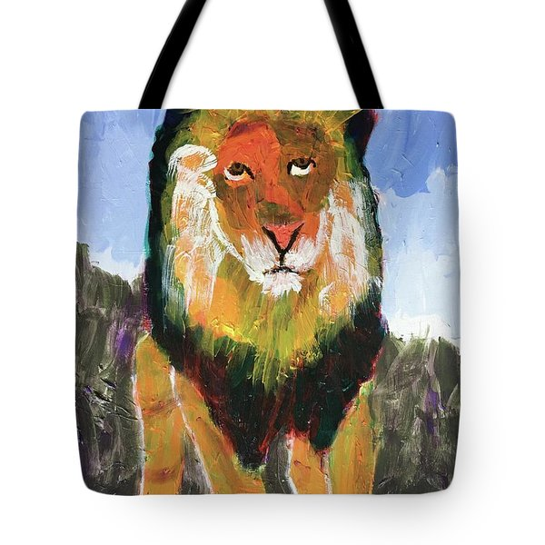 Tote Bag featuring the painting Big Lion King by Donald J Ryker III