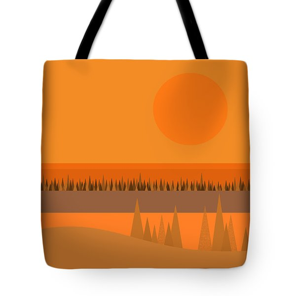 Tote Bag featuring the digital art Big Orange Sun by Val Arie