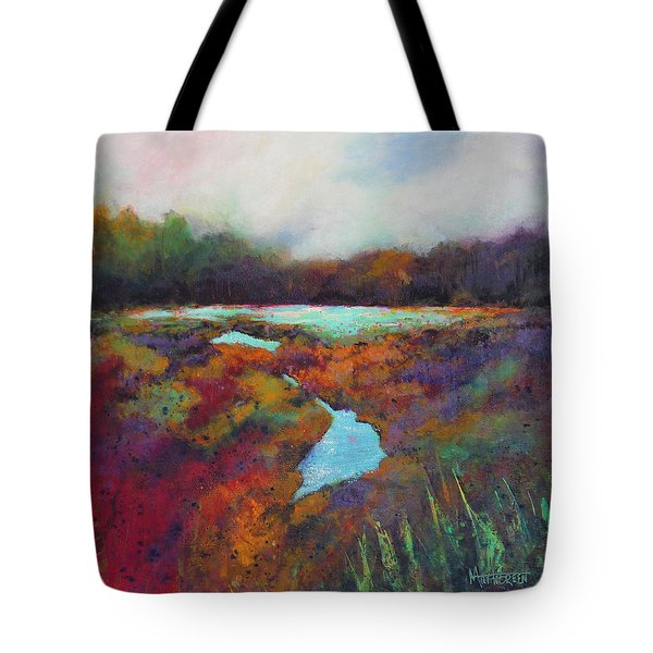 Tote Bag featuring the painting Big Pond In Fall Mc Cormick Woods by Marti Green