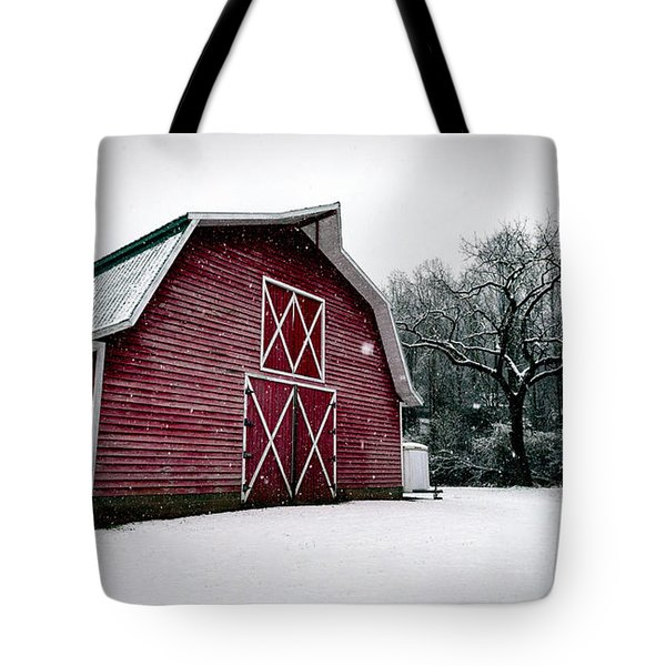 Big Red Barn In Snow Tote Bag