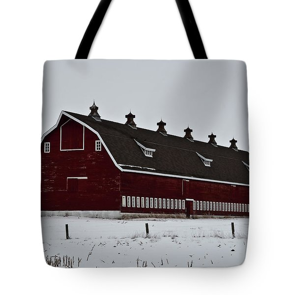 Big Red Barn In The Winter Tote Bag