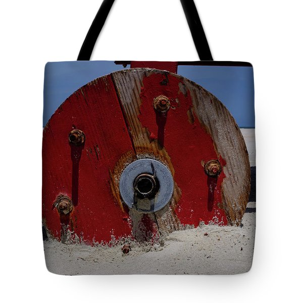 Big Red Wheel On The Beach In Daytona Florida Tote Bag