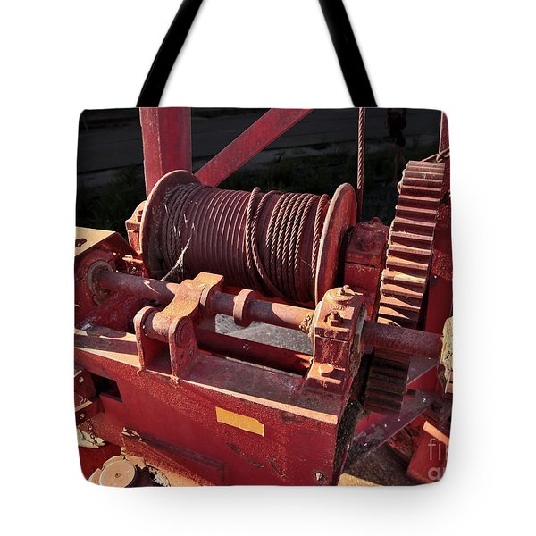 Tote Bag featuring the photograph Big Red Winch by Stephen Mitchell