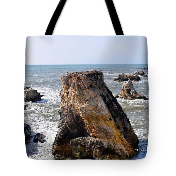 Tote Bag featuring the photograph Big Rocks In Grey Water by Barbara Snyder