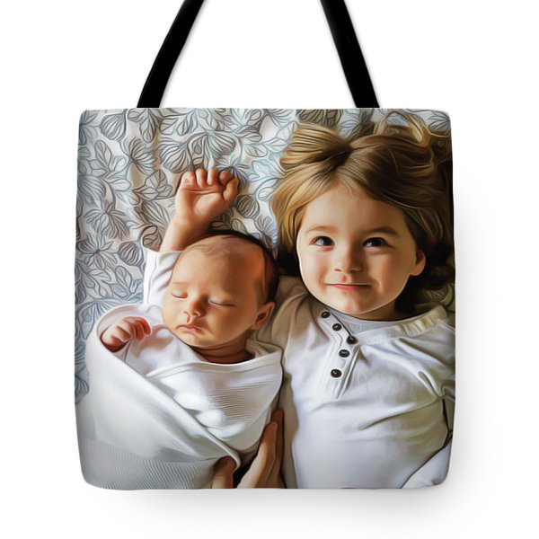 Tote Bag featuring the painting Big Sister by Harry Warrick