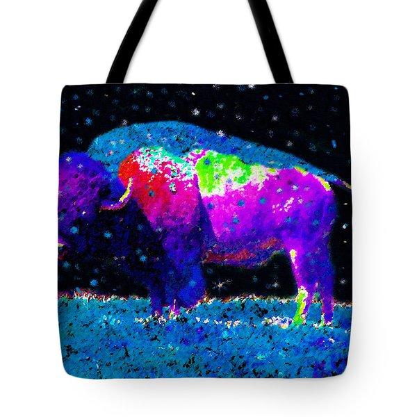 Big Snow Buffalo Tote Bag by David Lee Thompson