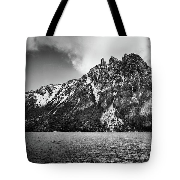 Big Snowy Mountain In Argentine Patagonia - Black And White Tote Bag