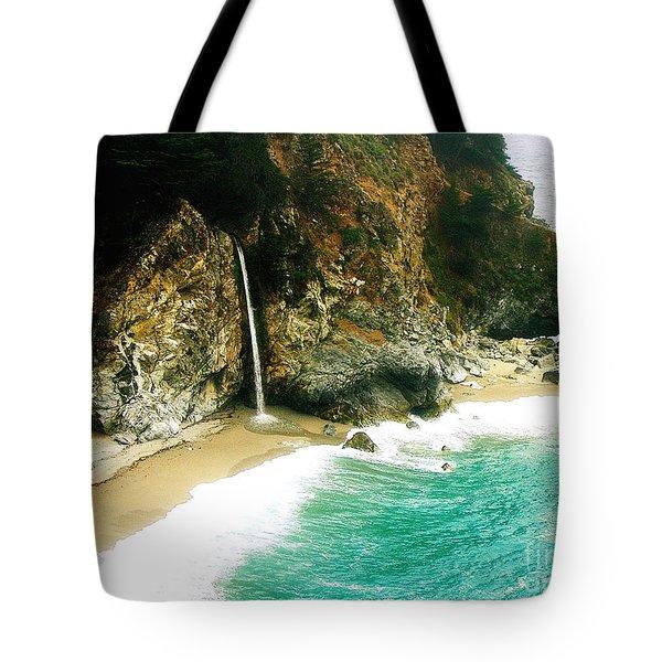Big Sur Waterfall Tote Bag by Jerome Stumphauzer