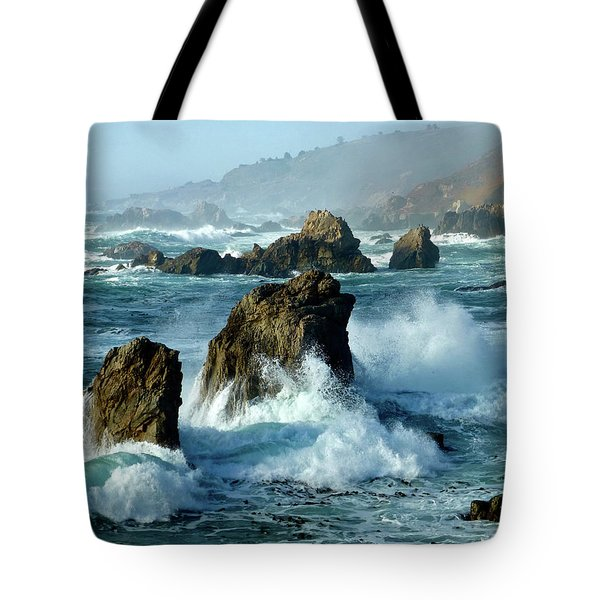 Big Sur Winter Wave Action Tote Bag