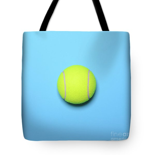 Big Tennis Ball On Blue Background - Trendy Minimal Design Top V Tote Bag by Aleksandar Mijatovic