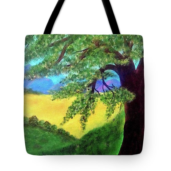 Tote Bag featuring the painting Big Tree In Meadow by Sonya Nancy Capling-Bacle