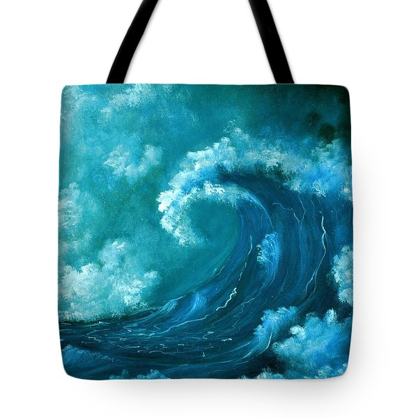 Tote Bag featuring the painting Big Wave by Anastasiya Malakhova