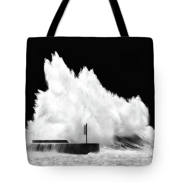 Big Wave Breaking On Breakwater Tote Bag