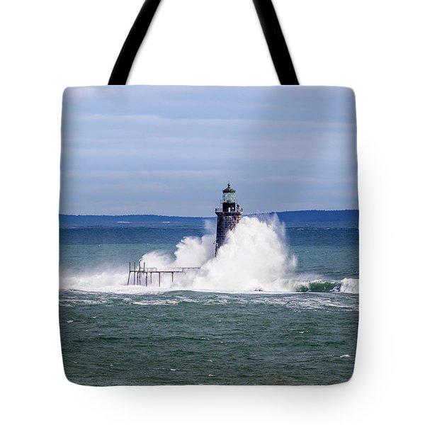 Big Wave Hits Ram Island Ledge Light Tote Bag