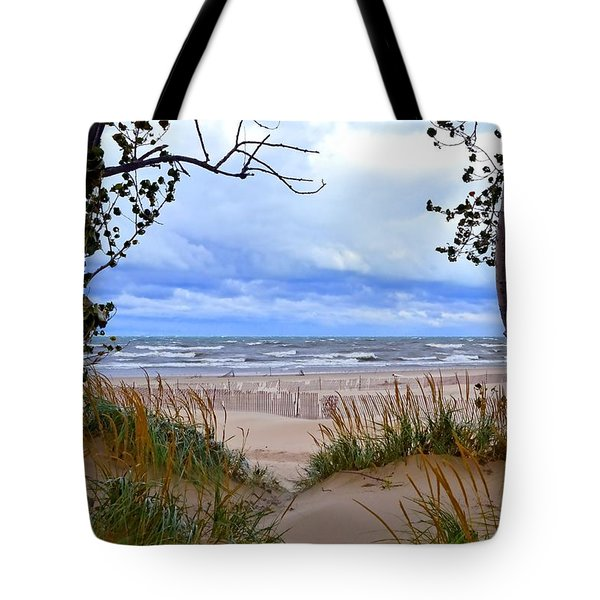 Big Waves On Lake Michigan 2.0 Tote Bag by Michelle Calkins